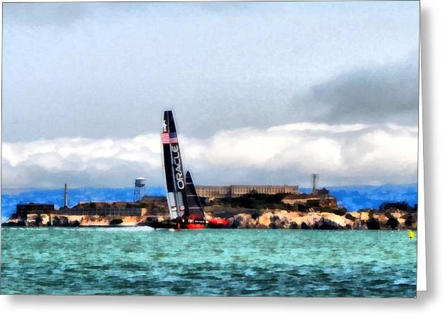 Alcatraz Greeting Cards - Oracle Team USA and Alcatraz Greeting Card by Michelle Calkins