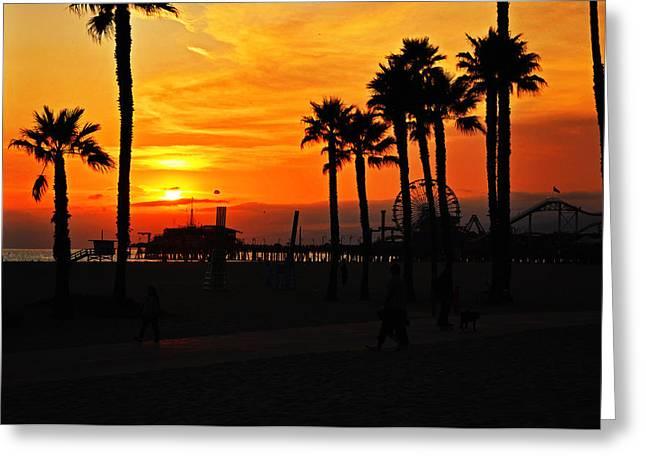 Usa Pyrography Greeting Cards - Orage Sunset Santa Monica Pier Greeting Card by Steffen Schumann