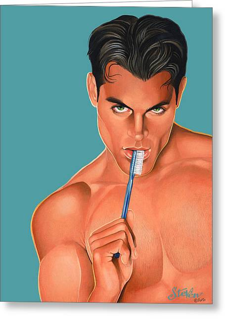 Homoerotic Mixed Media Greeting Cards - Oral Hygiene Greeting Card by Steven Stines