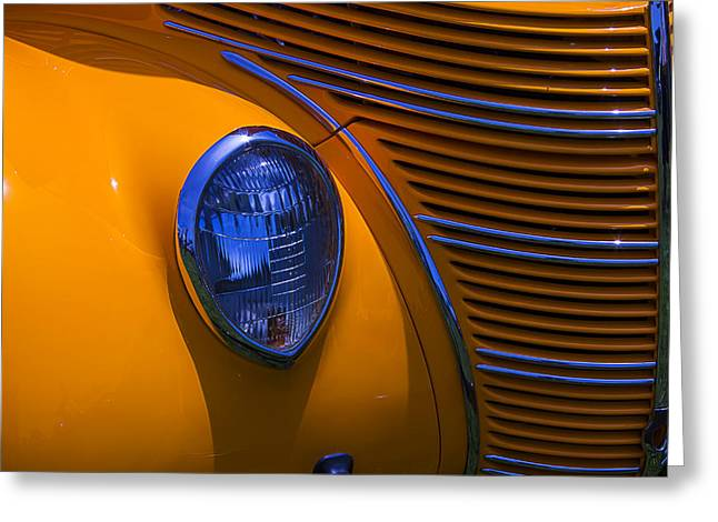 Motorized Greeting Cards - Orange 1938 Ford Coupe Greeting Card by Garry Gay