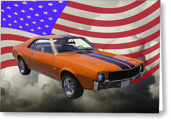 Reds Orange And Blue Greeting Cards - Orange 1969 AMC Javlin Car and American Flag Greeting Card by Keith Webber Jr