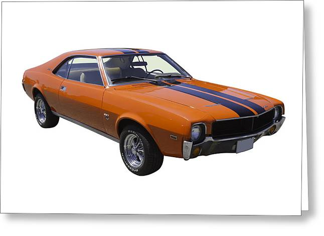 Horsepower Greeting Cards - Orange 1969 AMC Javlin Car Greeting Card by Keith Webber Jr