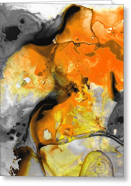 Abstract  Framed Prints Greeting Cards - Orange Abstract Art - Light Walk - By Sharon Cummings Greeting Card by Sharon Cummings