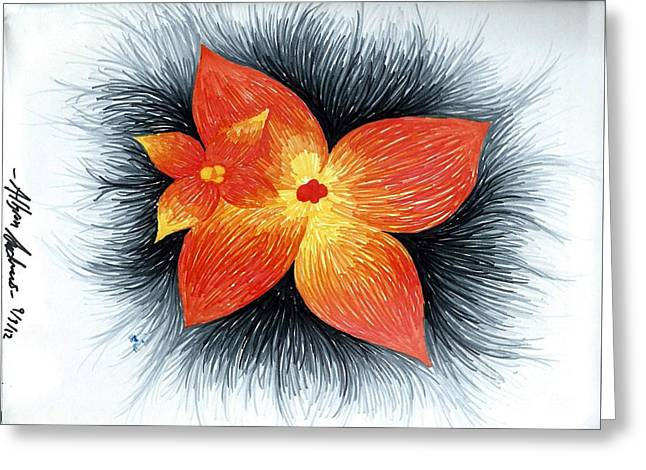 Orange Greeting Card by Allyson Andrewz