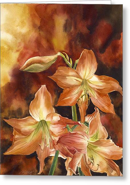 Orange Amaryllis Greeting Card by Alfred Ng