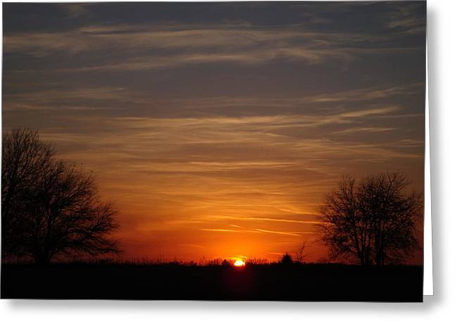Kansas Pyrography Greeting Cards - Orange and Black Sunset Greeting Card by Cary Amos