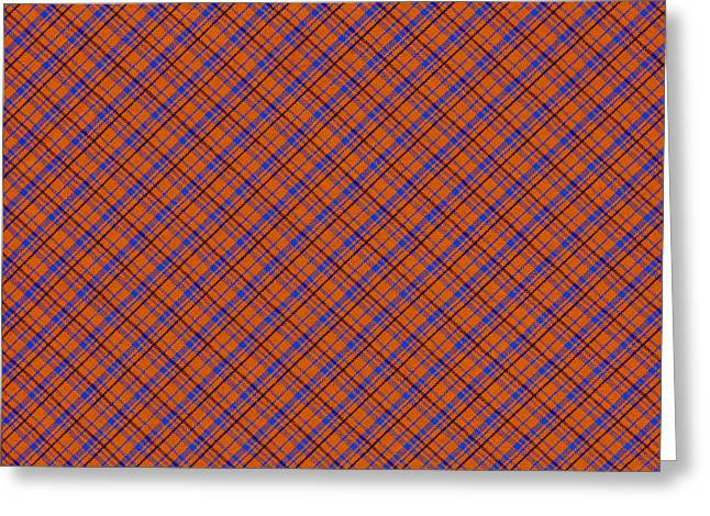 Patterned Greeting Cards - Orange And Blue Diagonal Plaid Pattern Cloth Background Greeting Card by Keith Webber Jr