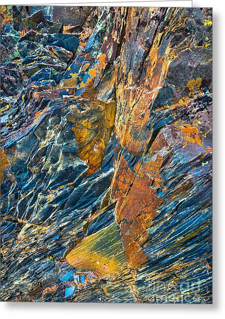 Pine Needles Greeting Cards - Orange and Blue Rock Abstract Greeting Card by Alexander Kunz