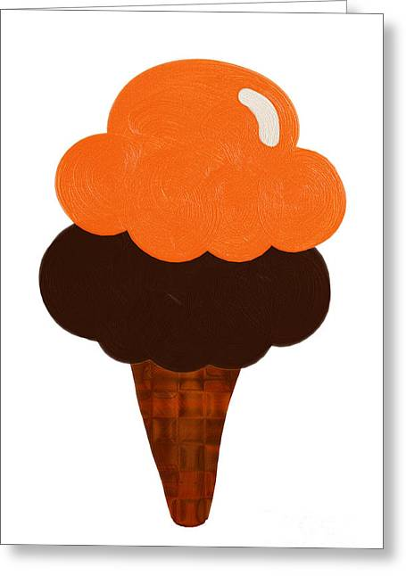 Food Digital Greeting Cards - Orange And Chocolate Ice Cream Greeting Card by Andee Design
