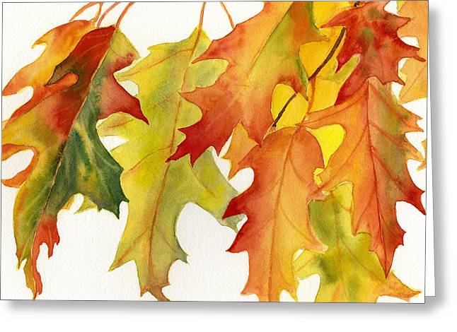 Red Leaves Greeting Cards - Orange and Gold Oak Leaves Square Design Greeting Card by Sharon Freeman
