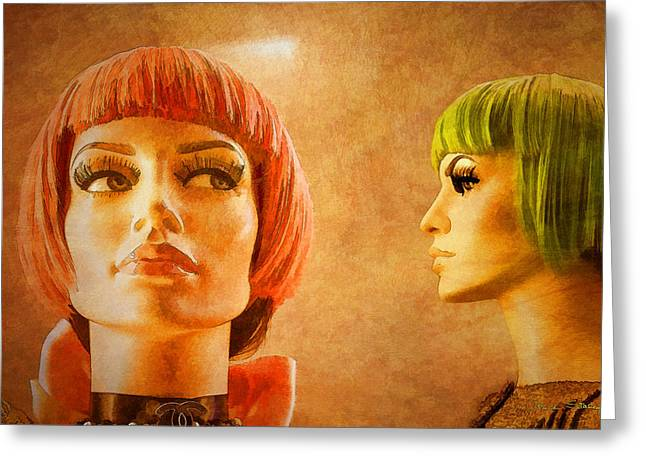 Ladies Of Rodeo Drive Greeting Cards - Orange and Green Hair Greeting Card by Chuck Staley