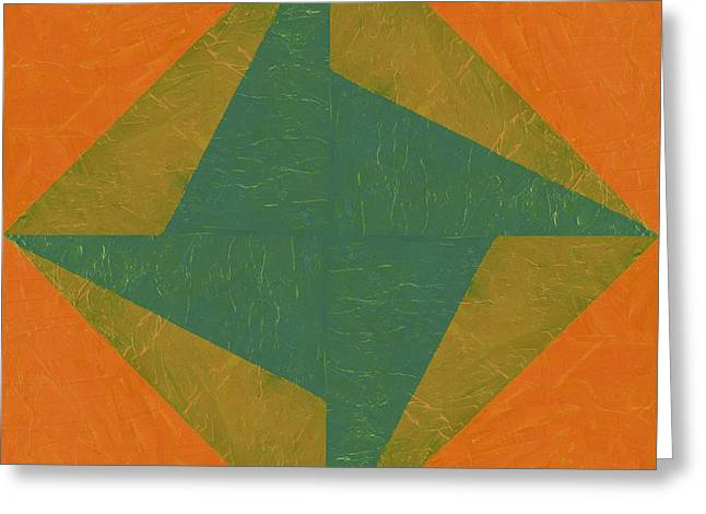 Geometric Image Greeting Cards - Orange and Green Pinwheel Greeting Card by Michelle Calkins