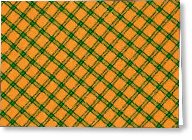 Checked Tablecloths Photographs Greeting Cards - Orange And Green Plaid Cloth Background Greeting Card by Keith Webber Jr