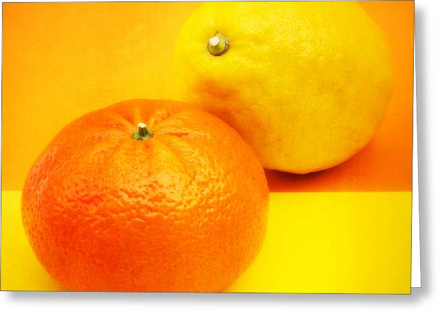 Decor Photography Greeting Cards - Orange and Lemon Greeting Card by Wim Lanclus
