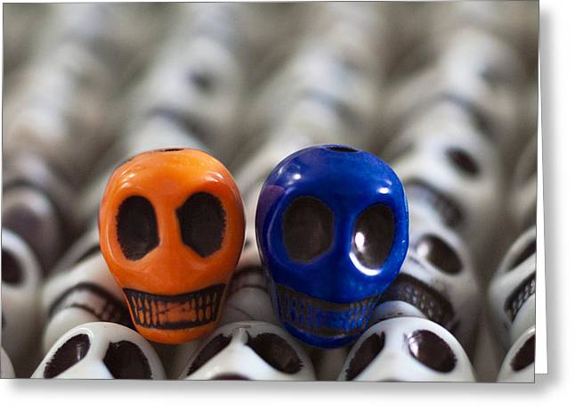 Skulls Greeting Cards - Orange And Navy Blue Greeting Card by Mike Herdering
