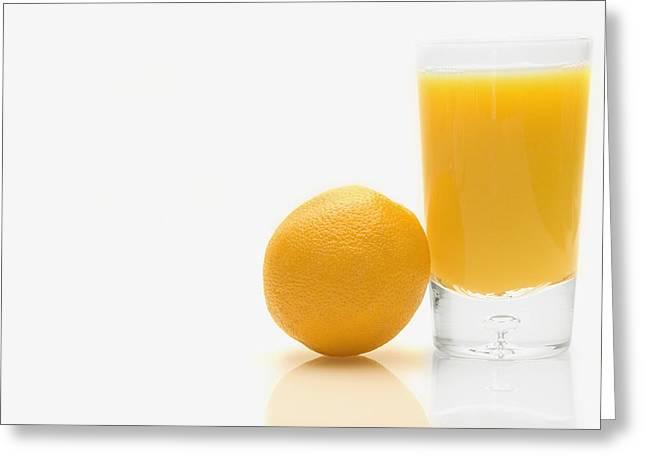 Orange Greeting Cards - Orange And Orange Juice Greeting Card by Darren Greenwood
