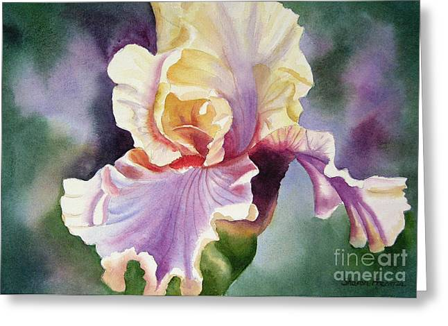 Close Up Paintings Greeting Cards - Orange and Purple Iris Greeting Card by Sharon Freeman