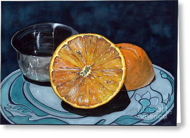 Orange And Silver Greeting Card by Barbara Jewell