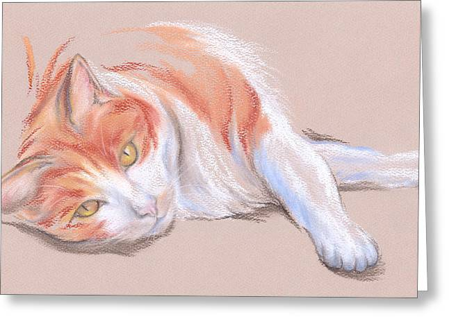 Relaxed Pastels Greeting Cards - Orange and White Tabby Cat with Gold Eyes Greeting Card by MM Anderson
