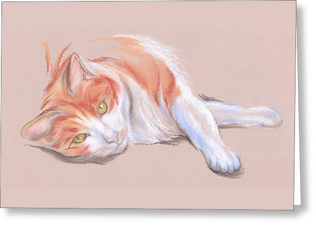 Stripes Pastels Greeting Cards - Orange and White Tabby Cat with Gold Eyes Greeting Card by MM Anderson