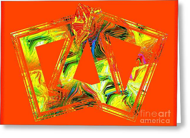 Geometry In Orange Greeting Cards - Orange and Yellow Art Greeting Card by Mario  Perez