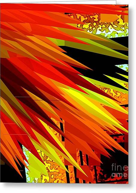 Black Greeting Cards - Orange and Yellow Design  Greeting Card by Mario  Perez