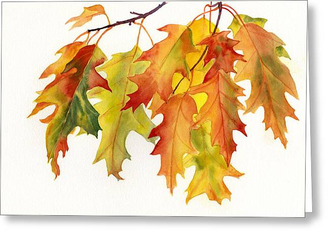 Orange Leaves Greeting Cards - Orange and Yellow Oak Leaves Greeting Card by Sharon Freeman