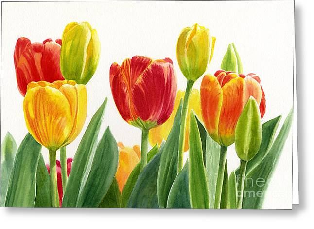Orange And Yellow Tulips Horizontal Design Greeting Card by Sharon Freeman