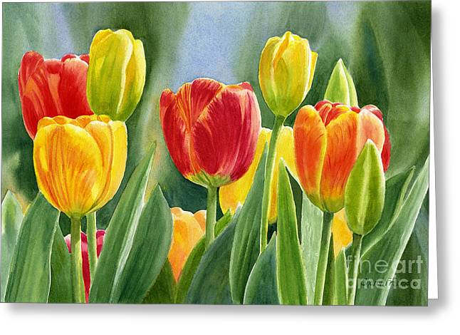 Watercolor! Art Greeting Cards - Orange and Yellow Tulips with Background Greeting Card by Sharon Freeman