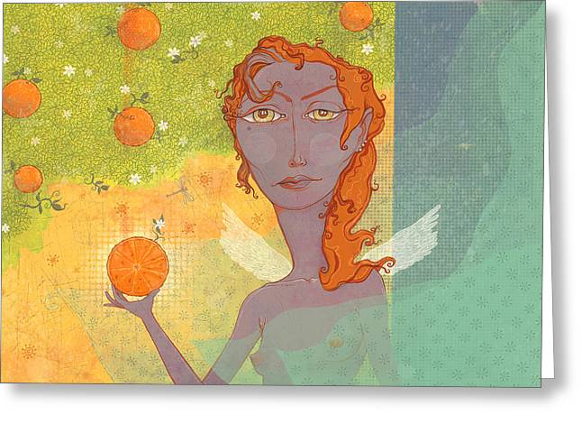 Angel Greeting Cards - Orange Angel 1 Greeting Card by Dennis Wunsch