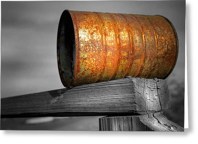 Orange Appeal - Rusty Old Can Greeting Card by Gary Heller