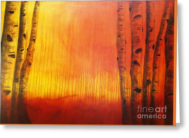 Yellow Trees Greeting Cards - Orange Aspen Greeting Card by Dana Kern