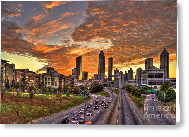 Metropolitan Area Greeting Cards - Orange Atlanta Sunset Greeting Card by Reid Callaway