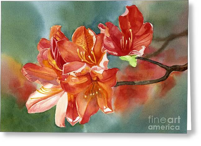 Garden Art Greeting Cards - Orange Azalea with Background Greeting Card by Sharon Freeman