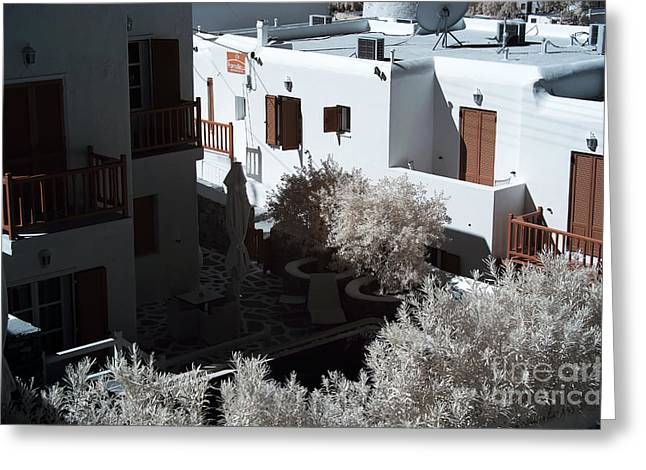 Ir Photography Greeting Cards - Orange Balcony in Mykonos infrared Greeting Card by John Rizzuto