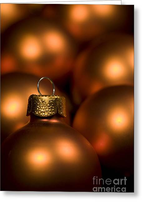 Trimmings Greeting Cards - Orange Baubles Greeting Card by Anne Gilbert