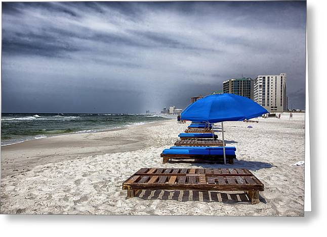 Chaise-lounge Greeting Cards - Orange Beach in Alabama Greeting Card by Mountain Dreams