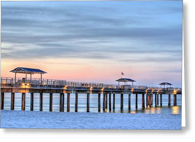 Beach At Night Greeting Cards - Orange Beach Pier Greeting Card by JC Findley