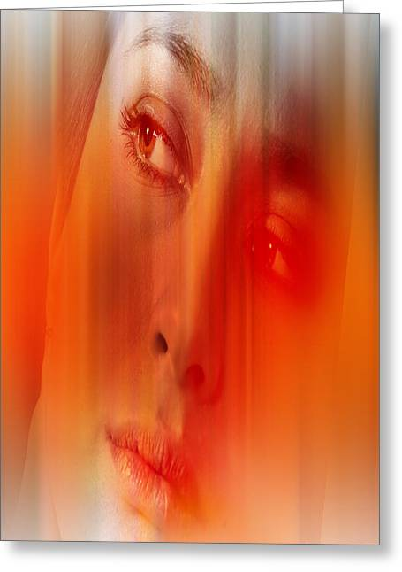Abstract Hair Images Greeting Cards - Orange beauty Greeting Card by Nathan Wright