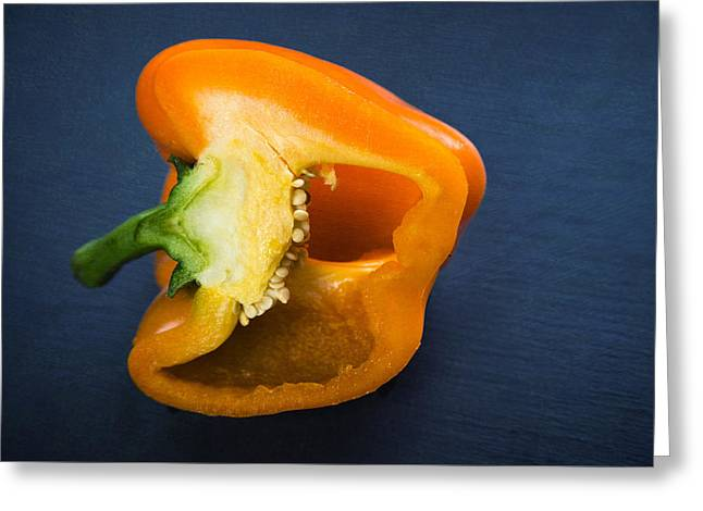 Cut In Half Greeting Cards - Orange bell pepper blue texture Greeting Card by Matthias Hauser