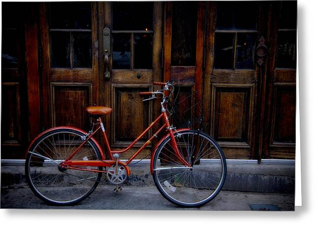 Handlebar Greeting Cards - Orange Bike Greeting Card by Garry Gay