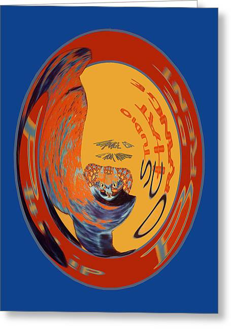 Paris Black Cats Greeting Cards - Orange Black and Blue Greeting Card by Philip Brent