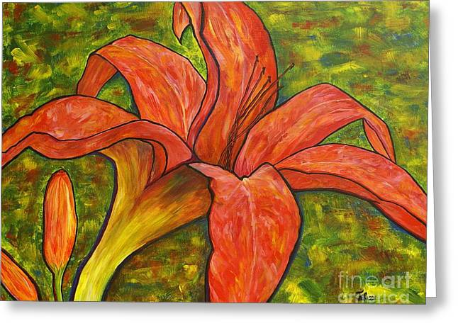 Day Lilly Greeting Cards - Summer Breeze Greeting Card by Jane Chesnut