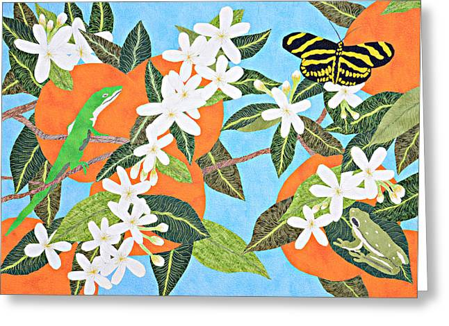 Blossoming Tapestries - Textiles Greeting Cards - Orange Blossoms Greeting Card by Pauline Barrett