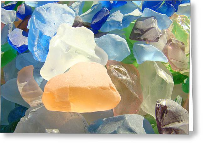 Seaglass Greeting Cards - Orange Blue SEAGLASS Art Prints Decorative Sea Glass Greeting Card by Baslee Troutman