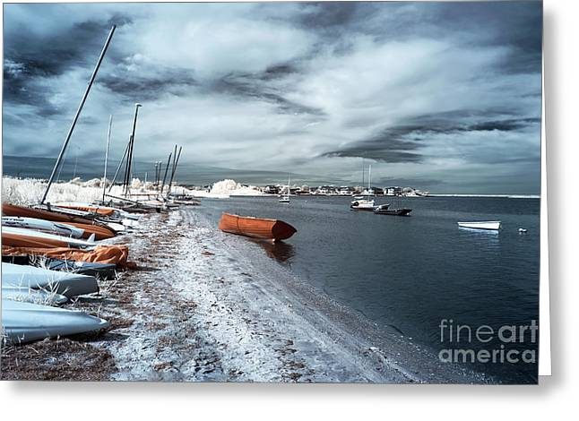 Sailboat Photos Greeting Cards - Orange Boat in the Water Greeting Card by John Rizzuto