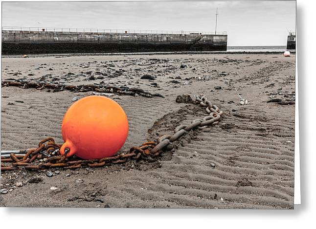 Conditions Greeting Cards - Orange Boat Marker Greeting Card by Semmick Photo
