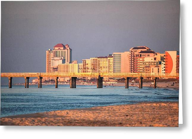 Crimson Tide Greeting Cards - Orange Buildings on the Beach Greeting Card by Michael Thomas
