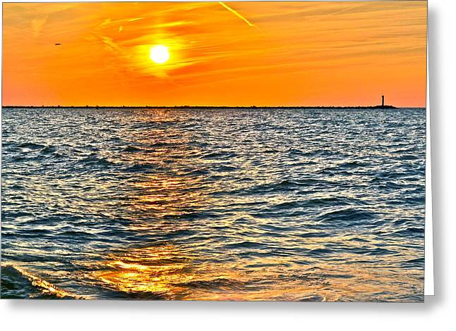 Marvelous View Greeting Cards - Orange Burn Greeting Card by Frozen in Time Fine Art Photography