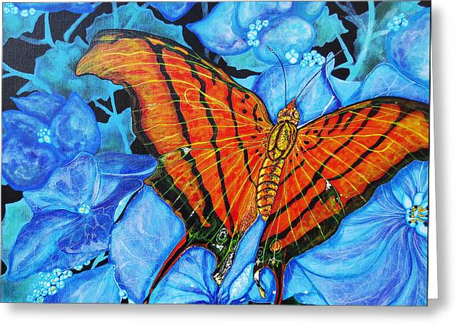 Debbie Chamberlin Greeting Cards - Orange Butterfly Greeting Card by Debbie Chamberlin